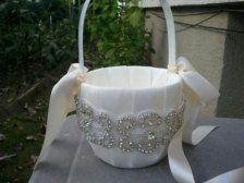 Wedding Flower Basket, Flower Girl Basket, Rhinestone Flower Basket  - Style BK1009