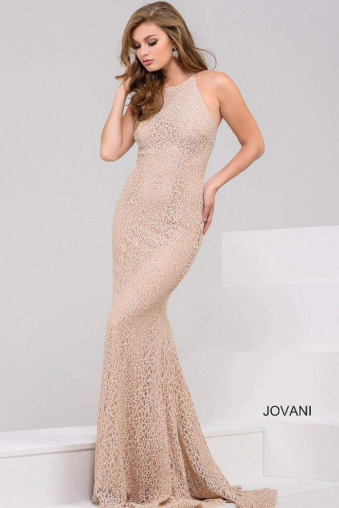 Champagne Halter Neck Open Back Prom Dress 50759 | jovani | Pinterest