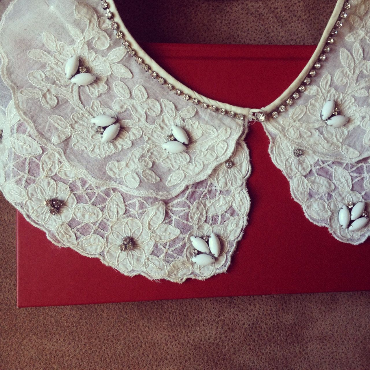 Bridal Collar: Embroidered Cotton Organdy Bridal Collar with Milk Glass Beads and Crystal Detail - ALL VINTAGE. $82.00, via Etsy.