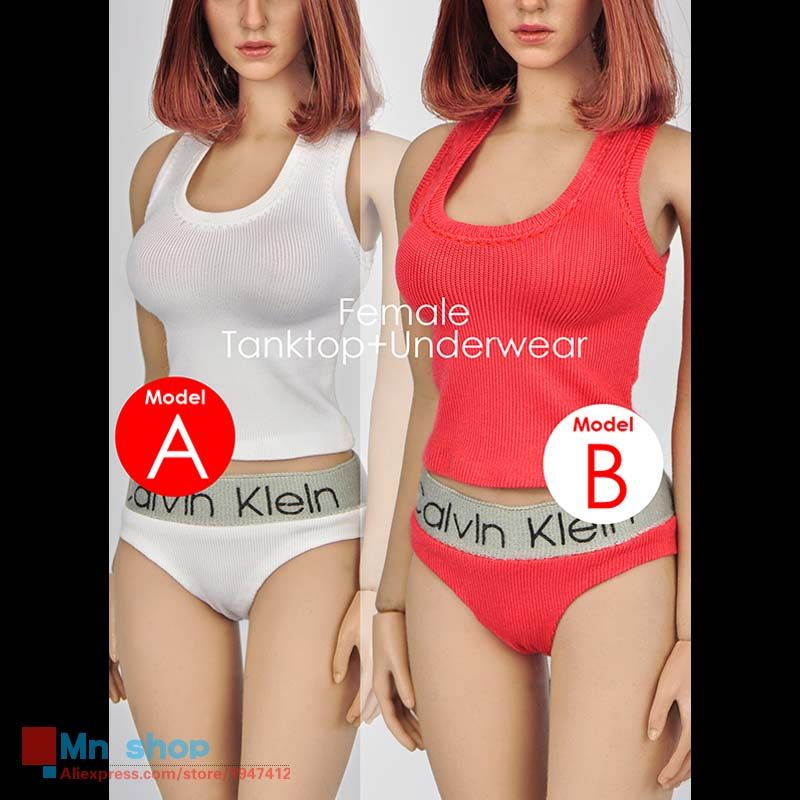1//6 scale female Tank Top Underwear Set WHITE for 12/'/' Female Figure Doll PHICEN