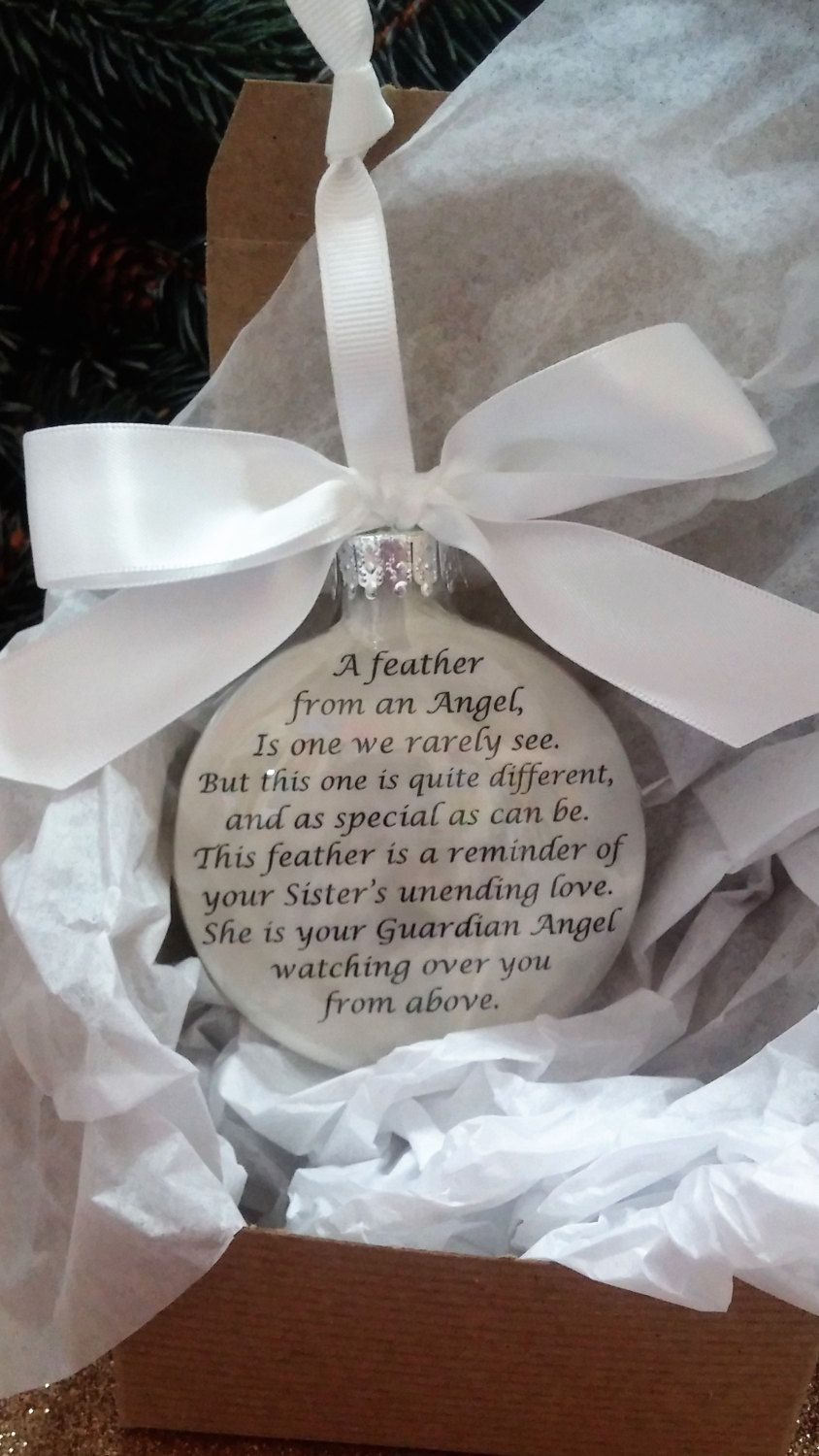 Sister Memorial Christmas Ornament Gift A Feather From A Guardian