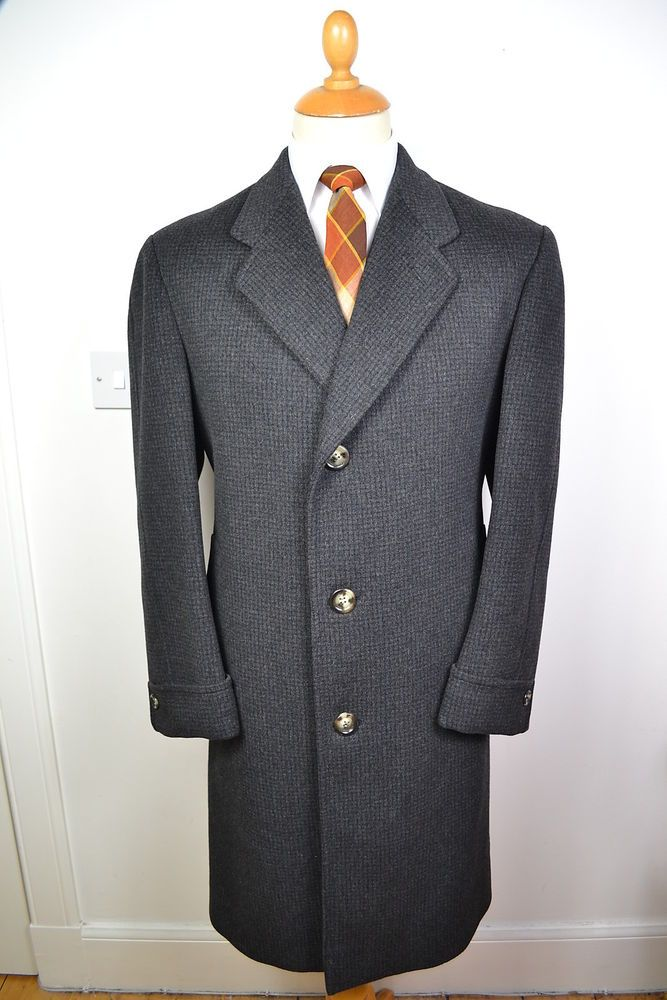 Vintage 1960s Men's Wool Blue Uniform Overcoat USAF Full Length Double Breasted / Fully Lined - Size Small/33R - Original Metal Buttons H8m14F7NR
