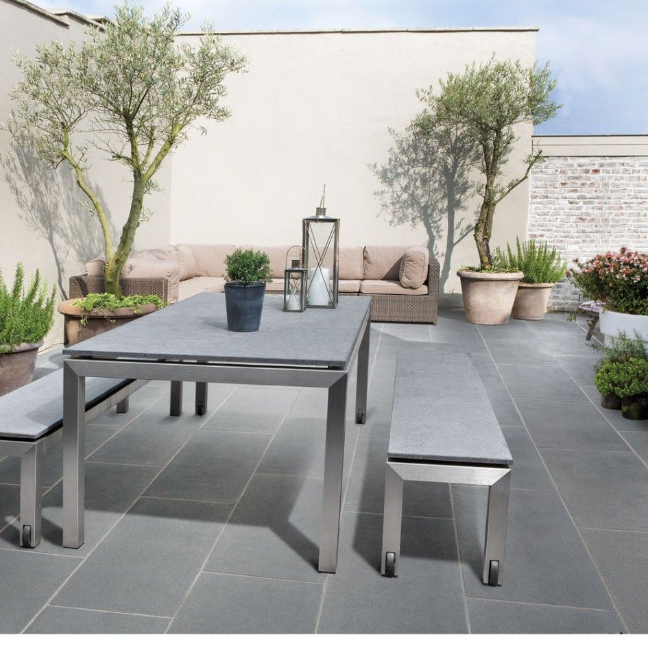 Romantic Grey Patio Stones For Garden Paving Designs On Subway Tile Pattern Under Metal Outdoor Dining