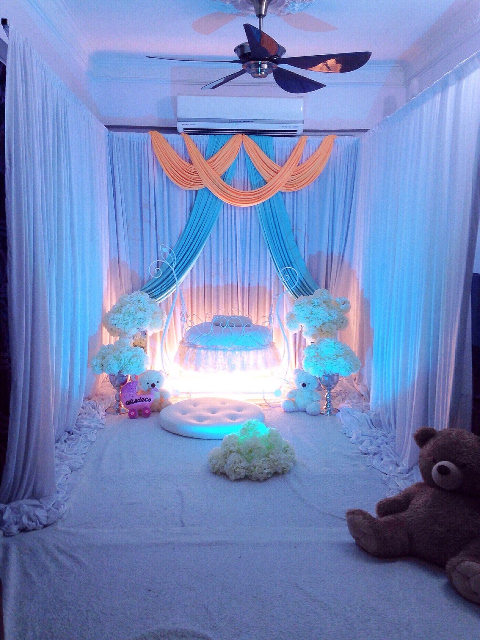 Pelamin buaian berendoi cukur jambul pakej aqiqah for Balloon decoration for naming ceremony