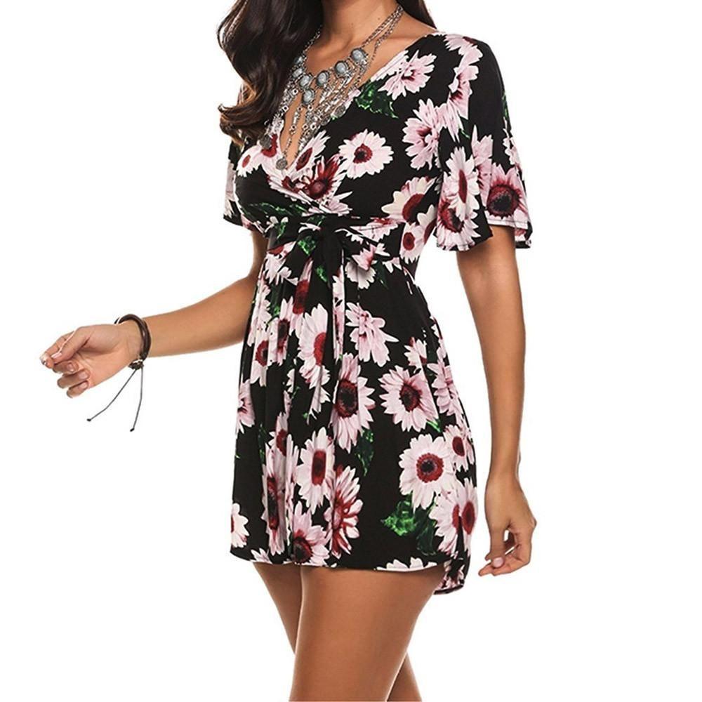 8bf1a43af8 V neck Jumpsuit boho sunflower Print Women short Sleeve Crisscross Tie  Detail Sexy Casual Jumpsuit 2018 Beach Jumpsuits Playsuit