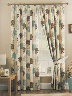 Sundour Akita Blue Green Cream Fl Curtains 66x72