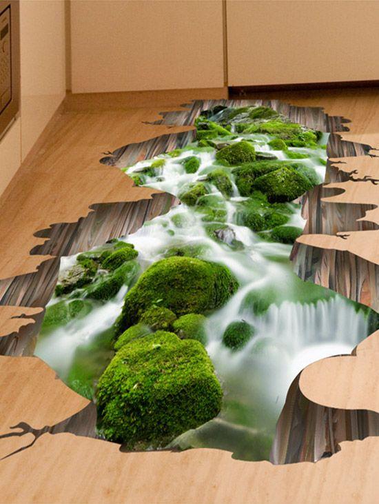 3D Blue Sea Scenery Hoom Room Decor Entfernbare Wandaufkleber Decals