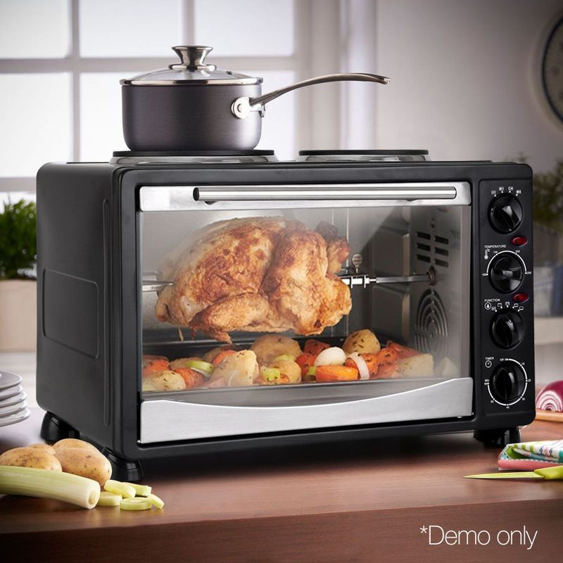 Devanti Convection Oven Electric 34l Bake Benchtop Hot Plate Rotisserie Electric Oven Tempered Glass Door Stainless Steel Doors