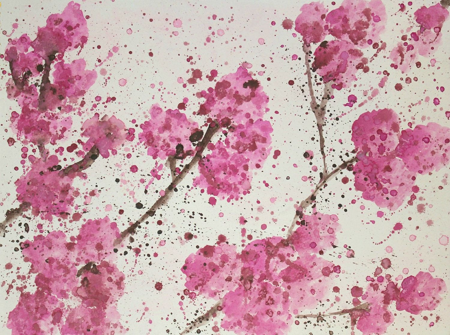 Cherry Blossoms Abstract Watercolor Painting Cherry Blossom