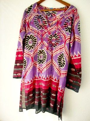 Vintage Cotton embroidered India Boho Tunic Dress by houuseofwren,