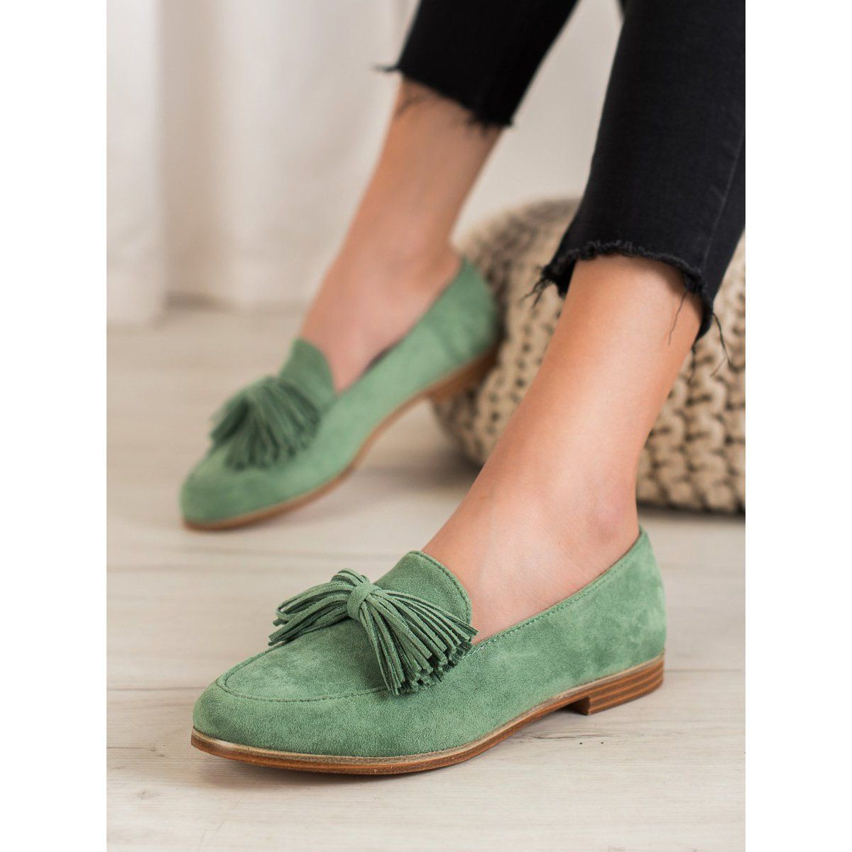 Seastar Zamszowe Obuwie Z Fredzlami Zielone Shoes Mule Shoe Slippers