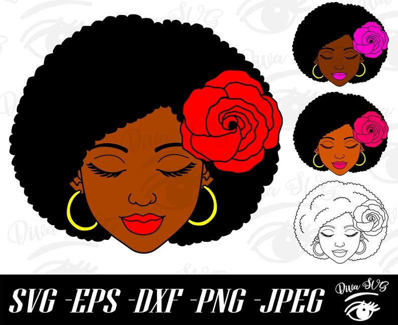 Black Woman With Rose In Hair Svg Afro Woman Rose Svg Hair Etsy In 2021 Flower Svg Afro Women Black Women