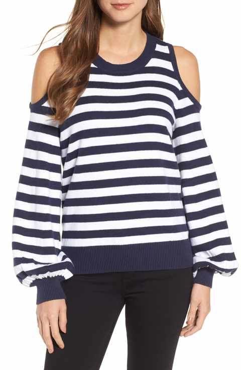 93bc0a65d2283 MICHAEL Michael Kors Stripe Cold Shoulder Sweater