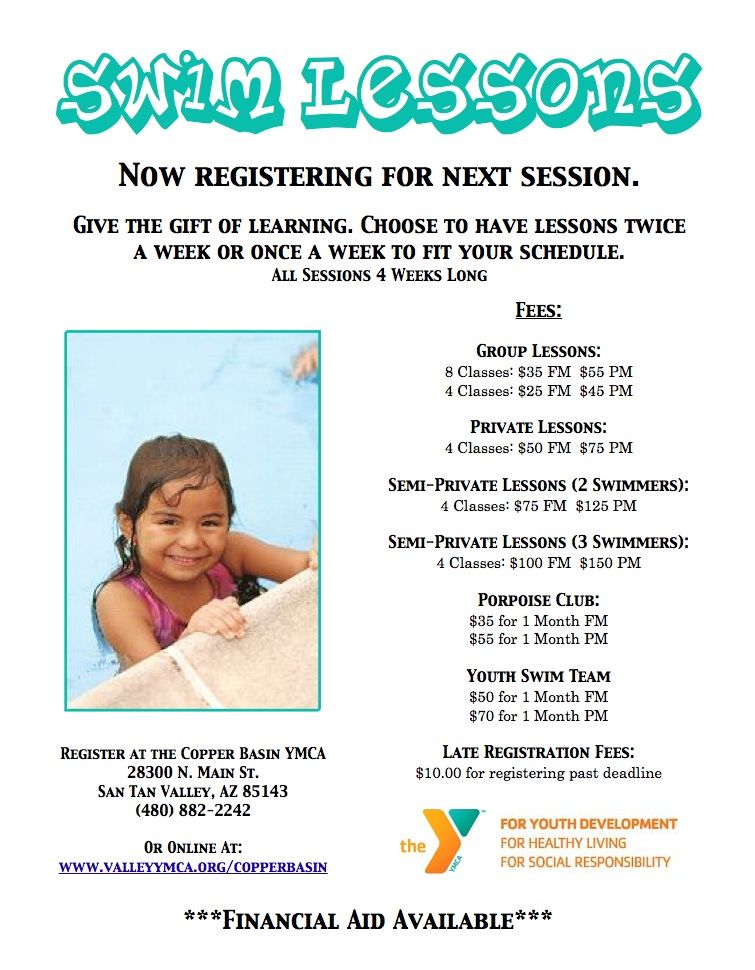 A swim lesson flyer for ymca swim lessons swim school