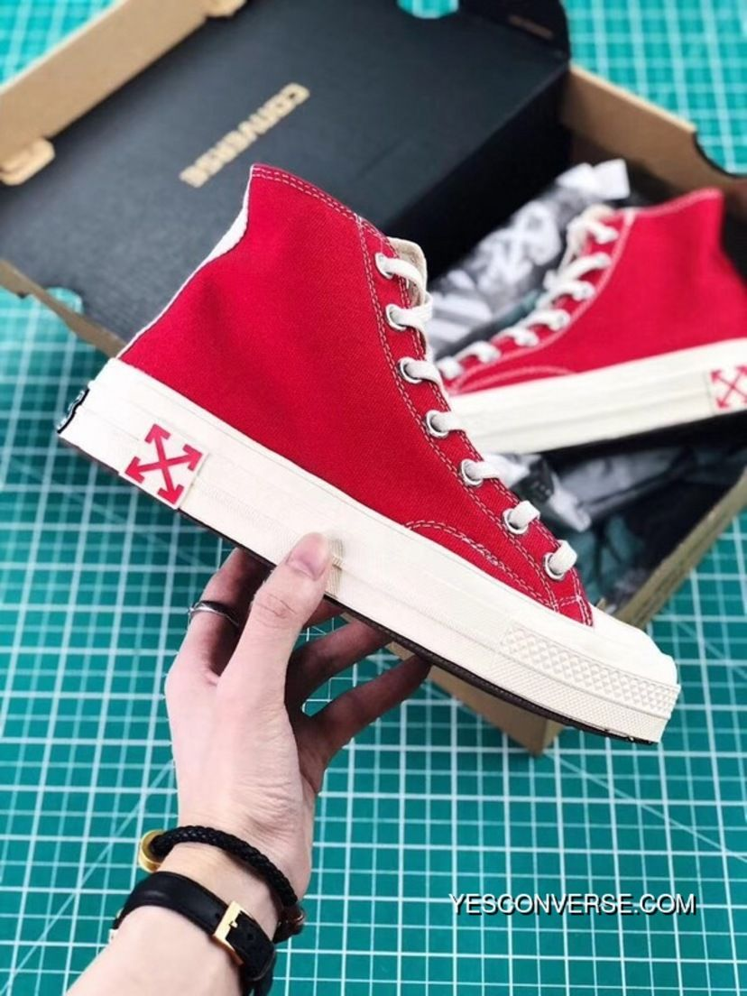 b90b7339aad9 Converse OFF-WHITE Collaboration X CONVERSE Chuck Taylor 70s Red White  Split Size 3 Latest
