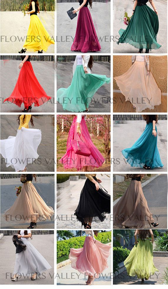 4f2183ce99f4 17 Colors Double Silk Chiffon Long Skirt   Summer by FlowersValley ...
