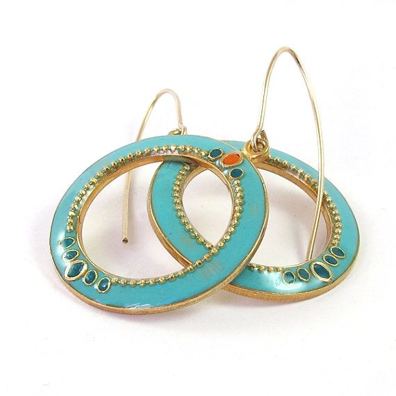 Gold hoop earrings -big Turquoise, aqua circle dangle earrings 14K gold filled