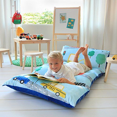 Kids Floor Pillow Bed Cover Use as Nap Mat Portable Toddler Bed or ...