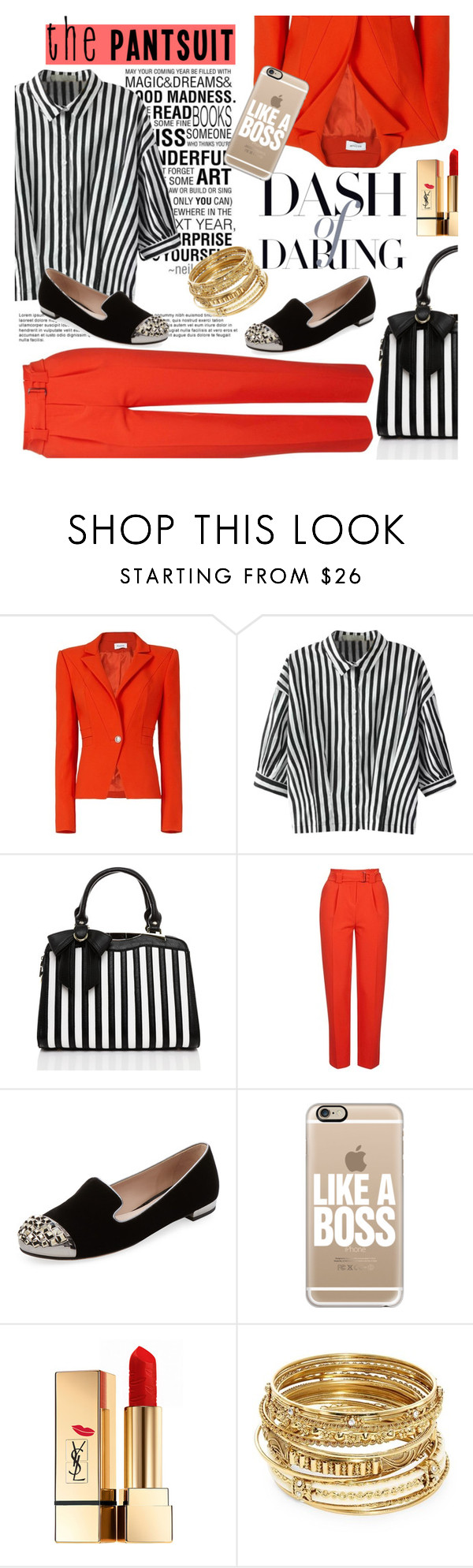 """Pantsuit (2)"" by emhenry ❤ liked on Polyvore featuring Thierry Mugler, Love Quotes Scarves, Relaxfeel, Topshop, Miu Miu, Casetify, Yves Saint Laurent and ABS by Allen Schwartz"