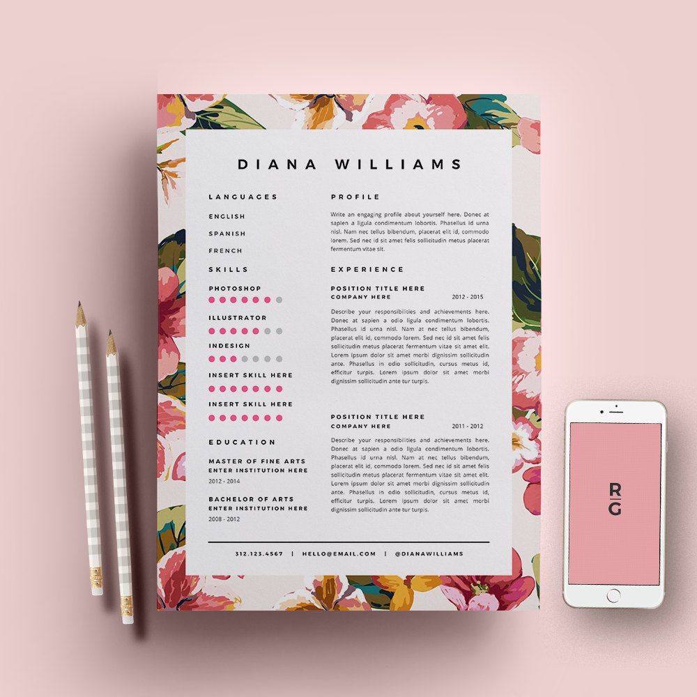 floral cv template creative floral border and bullets resume template 3 page pack cv template cover letter for ms word instant creative resume
