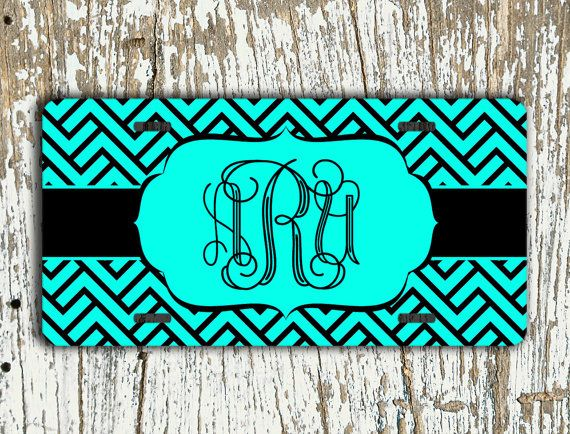 Monogrammed license plate personalized front by ToGildTheLily, $12.99