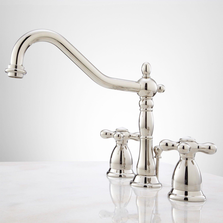 Victorian Widespread Bathroom Faucet Cross Handles Bathroom