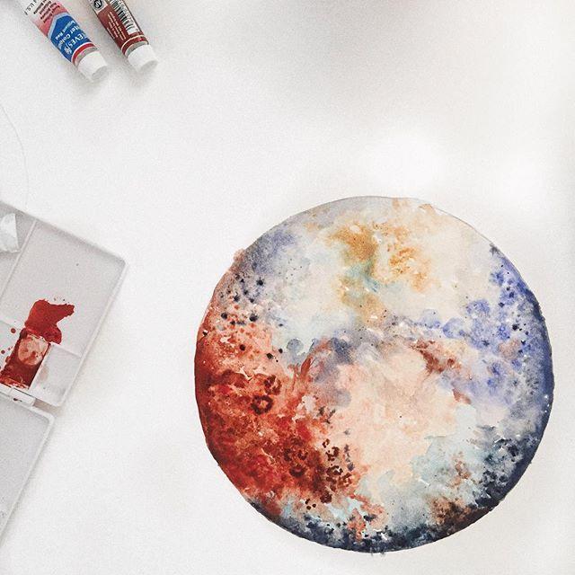 Pluto watercolor by @celestecclark // Artworkbyceleste ...