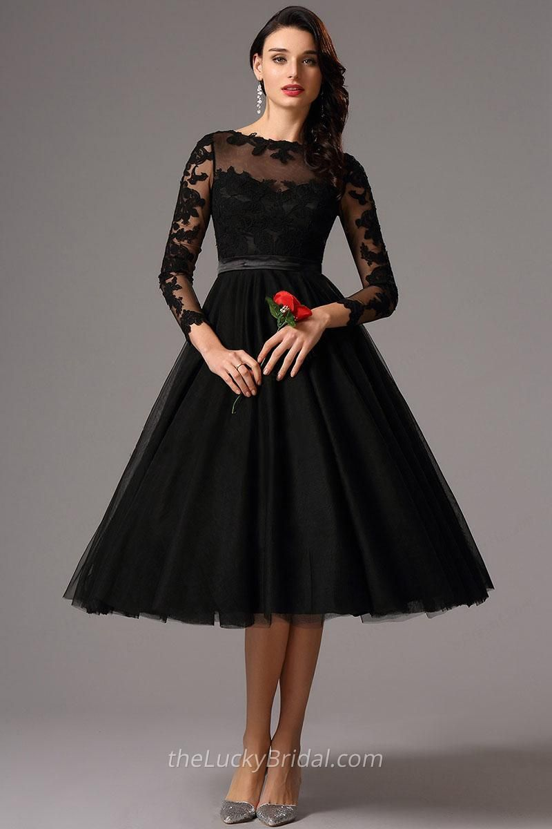 Elegant long sleeve tealength illusion black lace and tulle