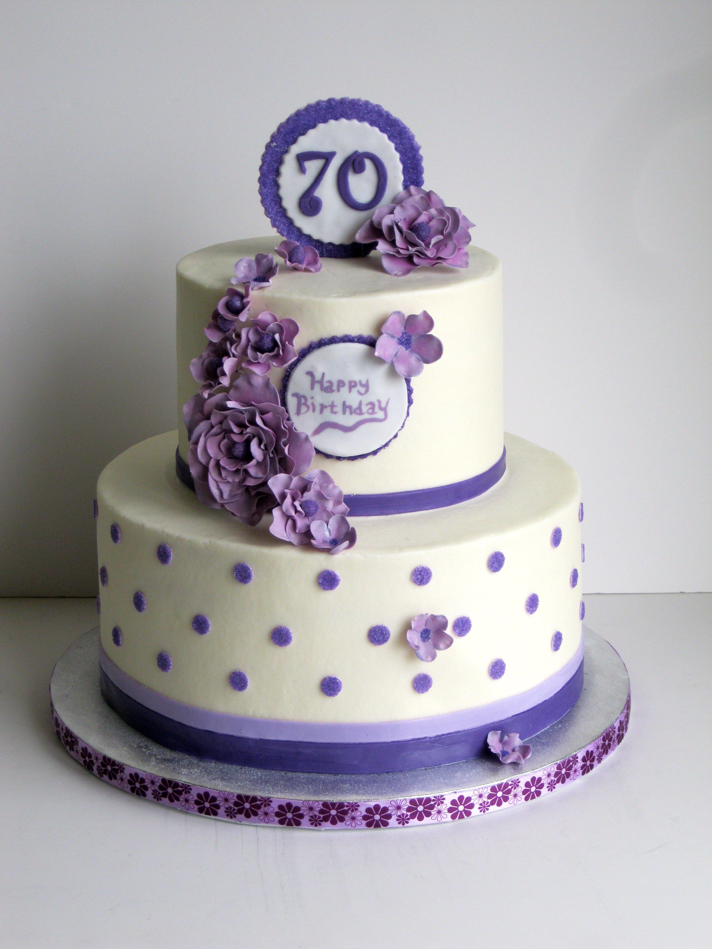 Purple and white birthday cake covered in buttercream with