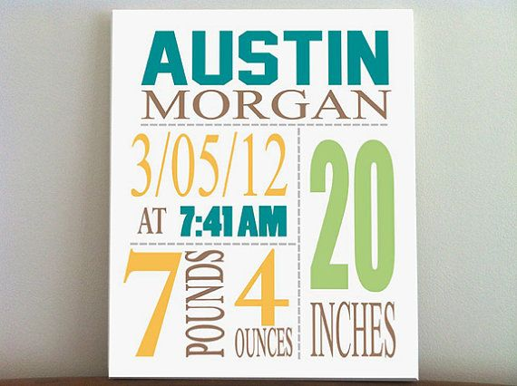 Baby Birth Announcement Canvas Print 10 x12 Boys Nursery Canvas – Personalized Birth Announcement