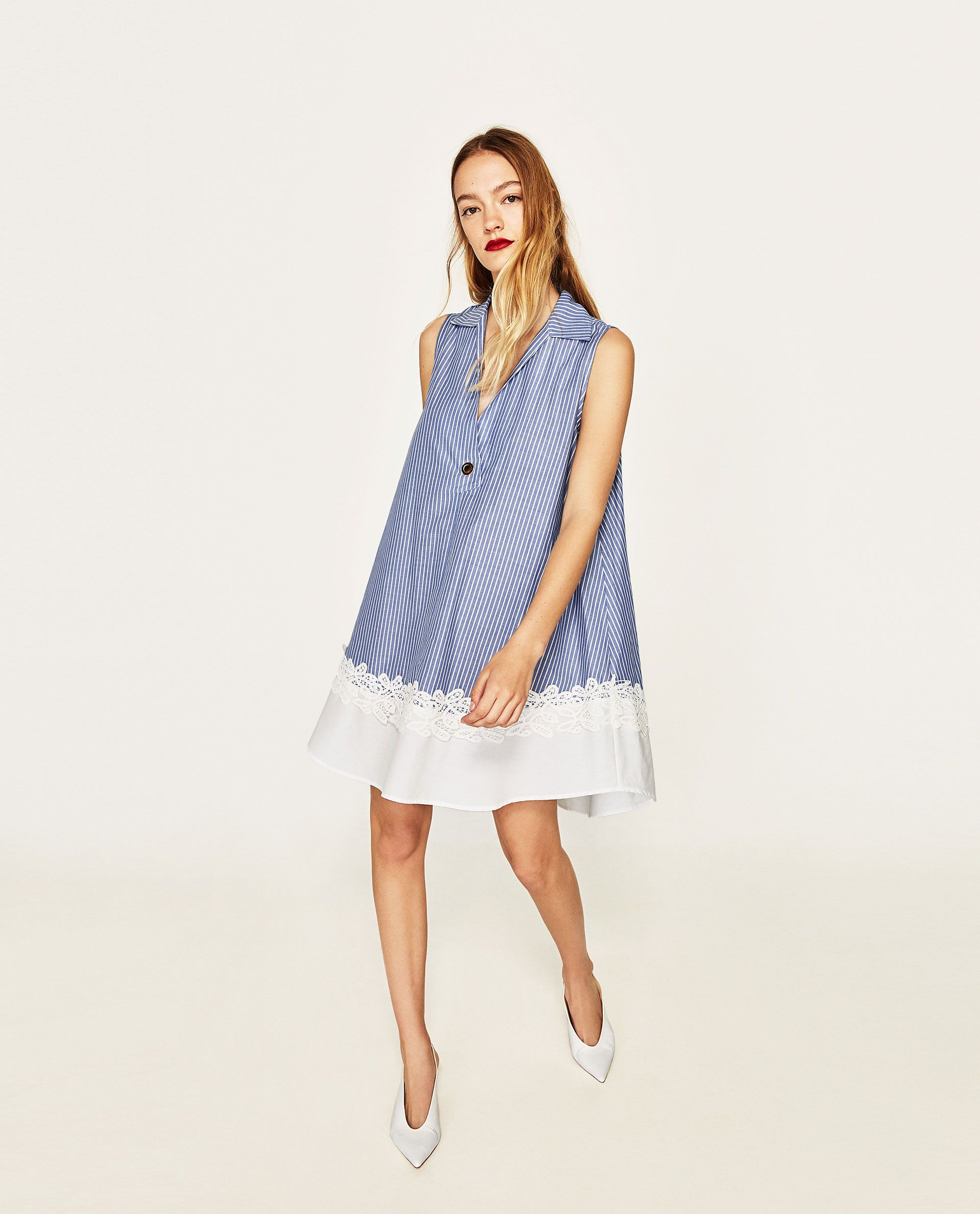 Contrast lace dress zara  contrast poplin lace dress  ZARA   Under   Favorite Steals