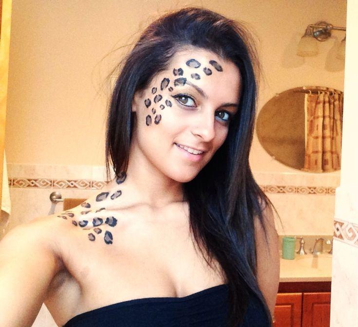 DIY Leopard Face paint. Liquid eyeliner and eye shadow. Cheetah ...