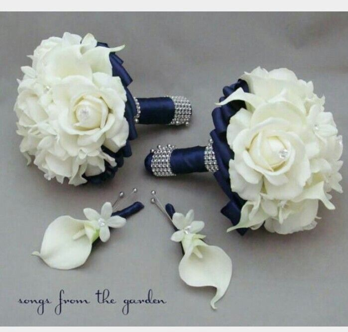 White blue bouquet bouquets pinterest weddings navy wedding flower package bridesmaid bouquets groomsman boutonnieres silk stephanotis real touch roses real touch calla lilies would love if it was red or mightylinksfo Gallery