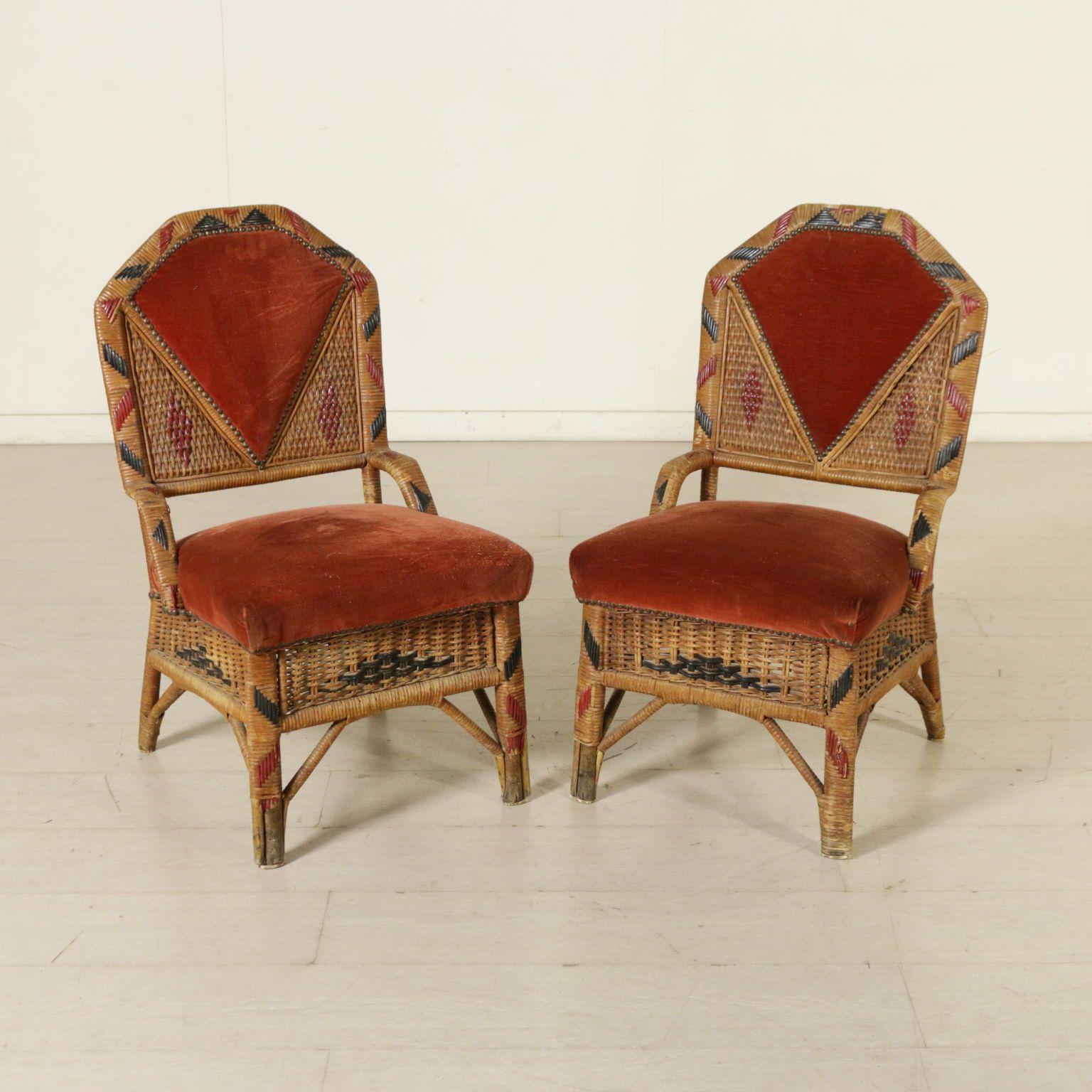 Coppia di sedie in giunco e vimini imbottitura in espanso for Sedie design velluto