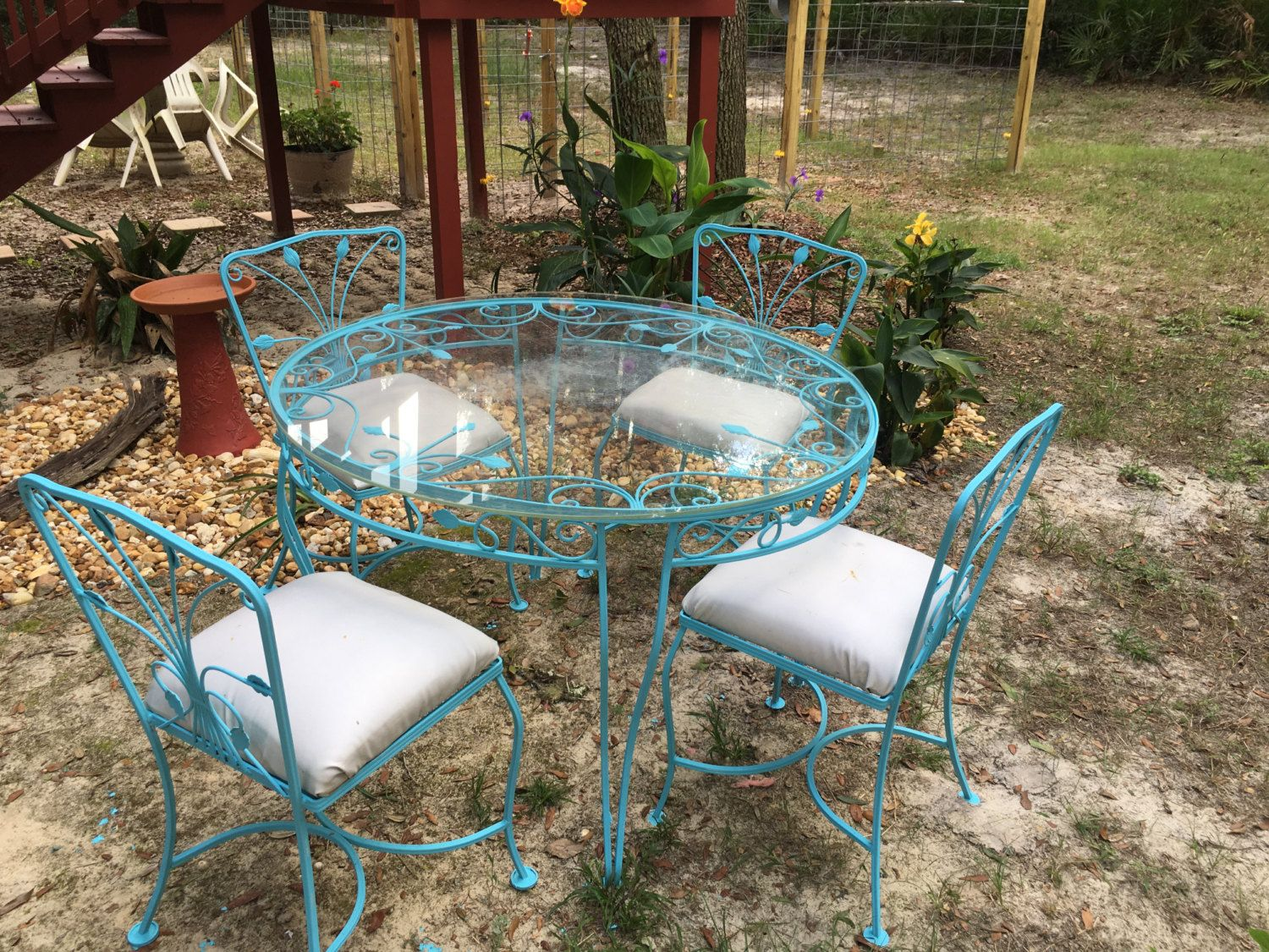 Rod Iron Table Dixie Belle Blue Glass Top By Maggiebleus On Etsy Wrought Iron Table Outdoor Patio Set Outdoor Tables And Chairs