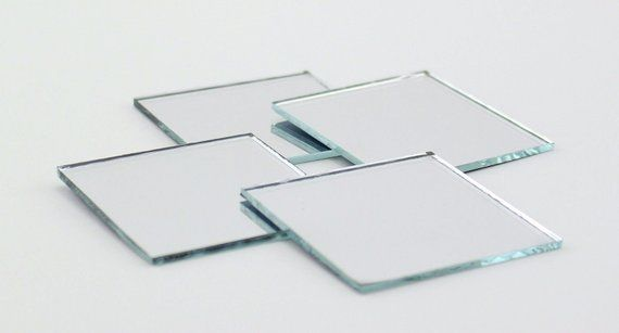 2 inch Glass Craft Small Square Mirrors 12 Pieces Mosaic Mirror Tiles