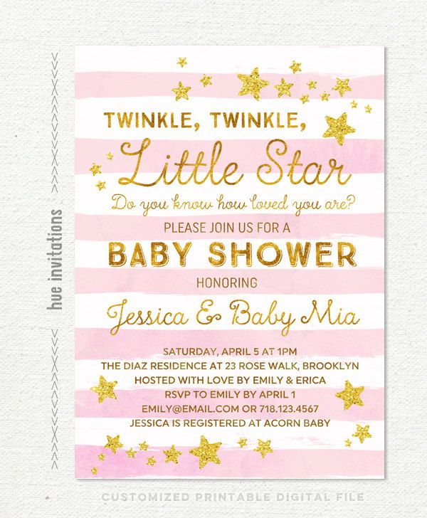 Twinkle Twinkle Little Star Baby Shower Invitation Girl Girl Baby