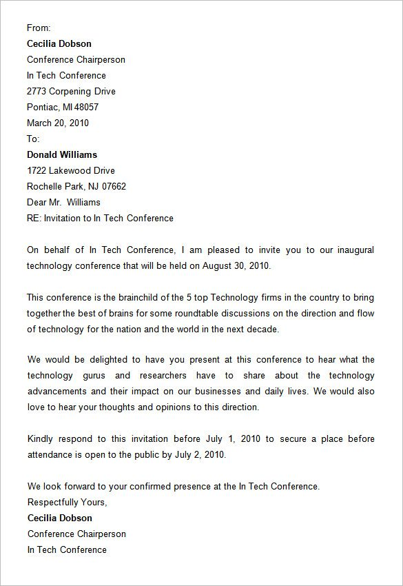 Conference Invitation Letter Sample from i.pinimg.com
