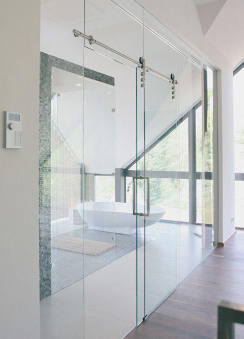 Porte Coulissante En Verre Pour Salle De Bain 33 idées de portes coulissantes déco | home ideas | pinterest