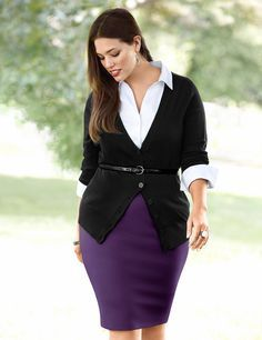Ashley Graham. Curvy Woman Purple Pencil Skirt White Blouse Black Sweater and Skinny Black Belt.