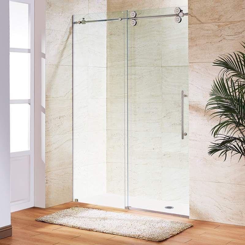 Vigo Vg60415674 74 H X 56 W Single Sliding Frameless Shower Door With Clear