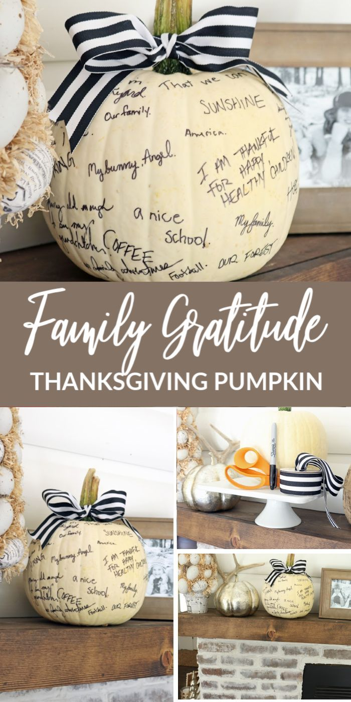 Family Gratitude Pumpkin! A fun family tradition for Fall and Thanksgiving! Celebrate the things you're thankful for by writing them down where you can see them! After the season is over, take a picture of your pumpkin so you have it forever! Family memories for Thanksgiving and a new Holiday tradition! #passion4savings #thanksgiving #thankful #pumpkin #memories #holiday #thankfulness #ideas #kids #family