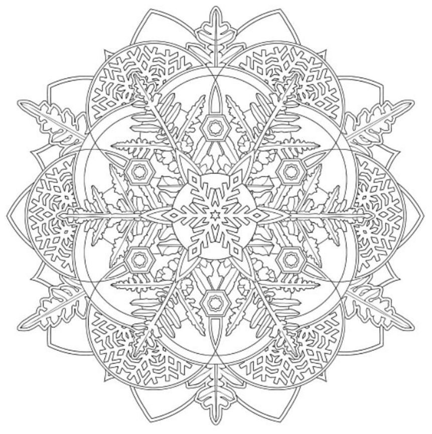 Coloring Pages : Snowflake Mandala Coloring Pages Engaging ...