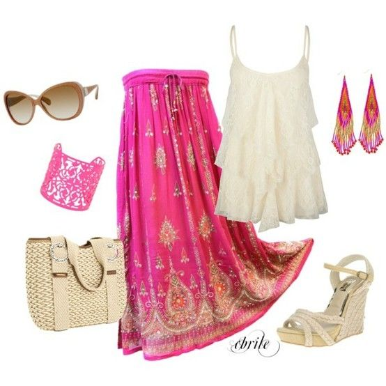 White shirt with fuchsia skirt and accessories combination,combination of clothes,fashion,accessorize,accessories,wear,clothes