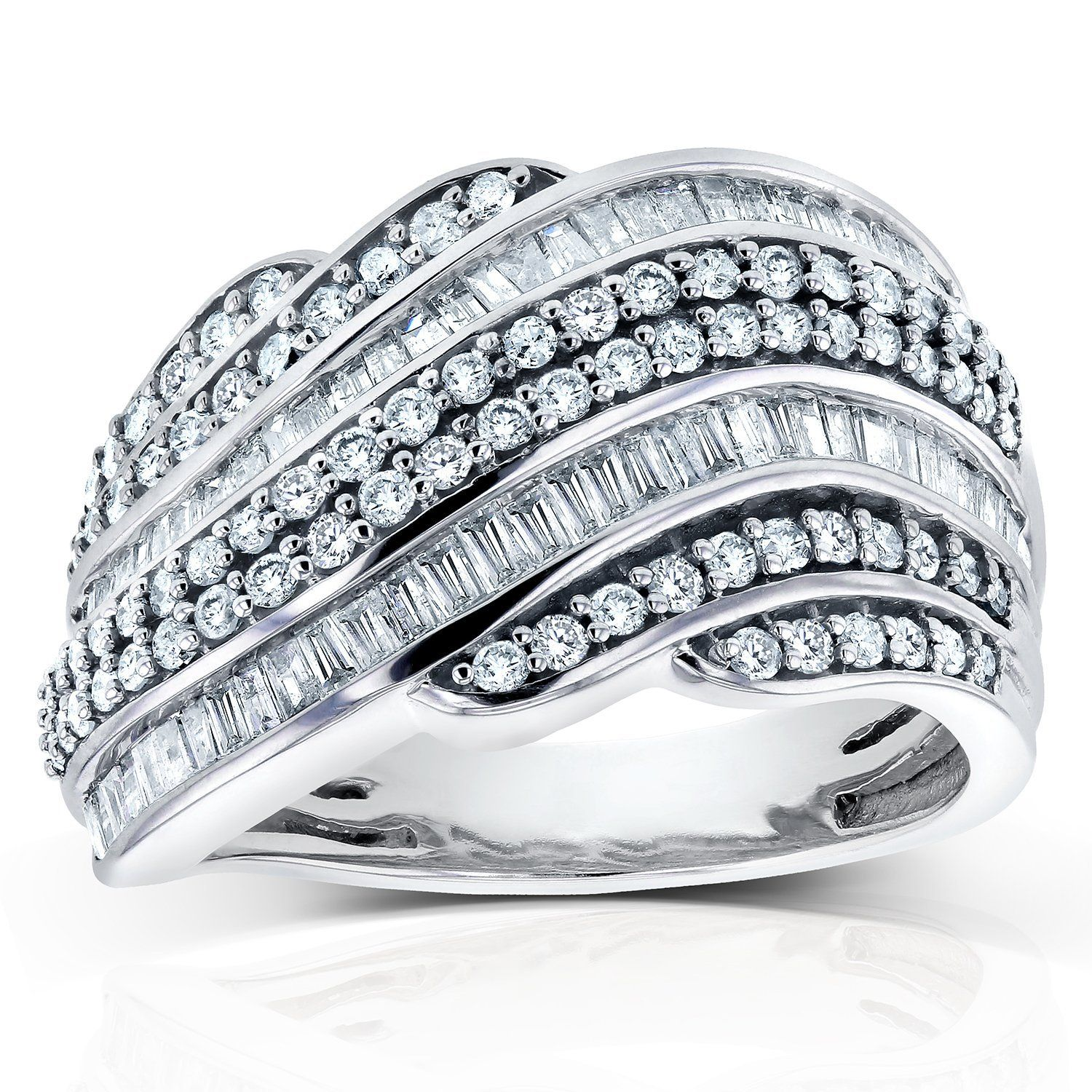 Baguette & Round Diamond Wedding Band 1 CTW in
