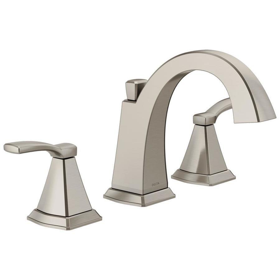 Delta Flynn Brushed Nickel 2 Handle Widespread Watersense Bathroom Sink Faucet With Drain Lowes Com In 2020 Bathroom Faucets Brushed Nickel Bathroom Sink Faucets Water Sense