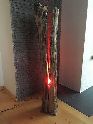 Stehlampe Leuchte Altholz LED Lampe Design Holzbalken