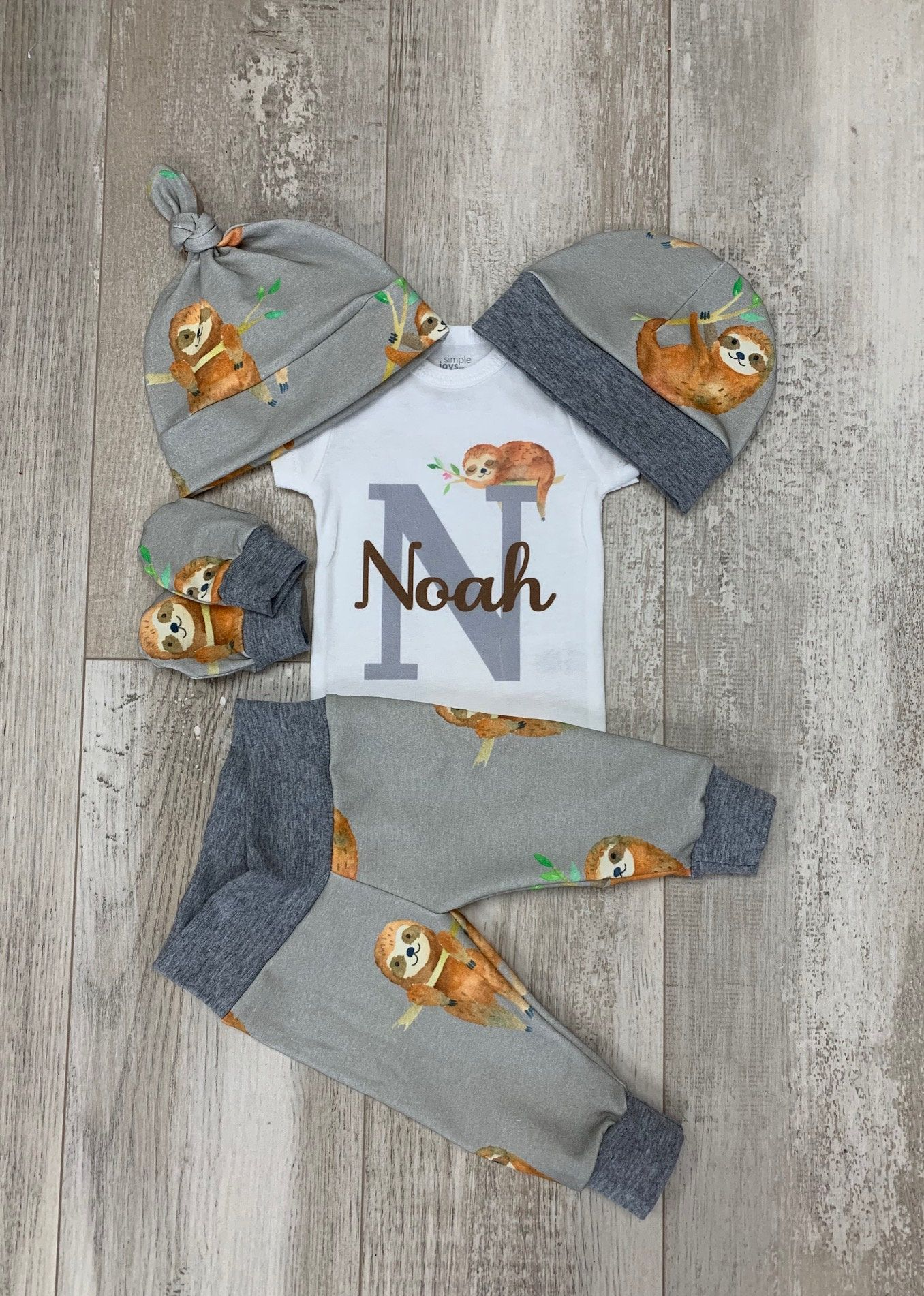 Baby Boys Sloth Coming Home Outfit Sloth Personalized Baby  Etsy