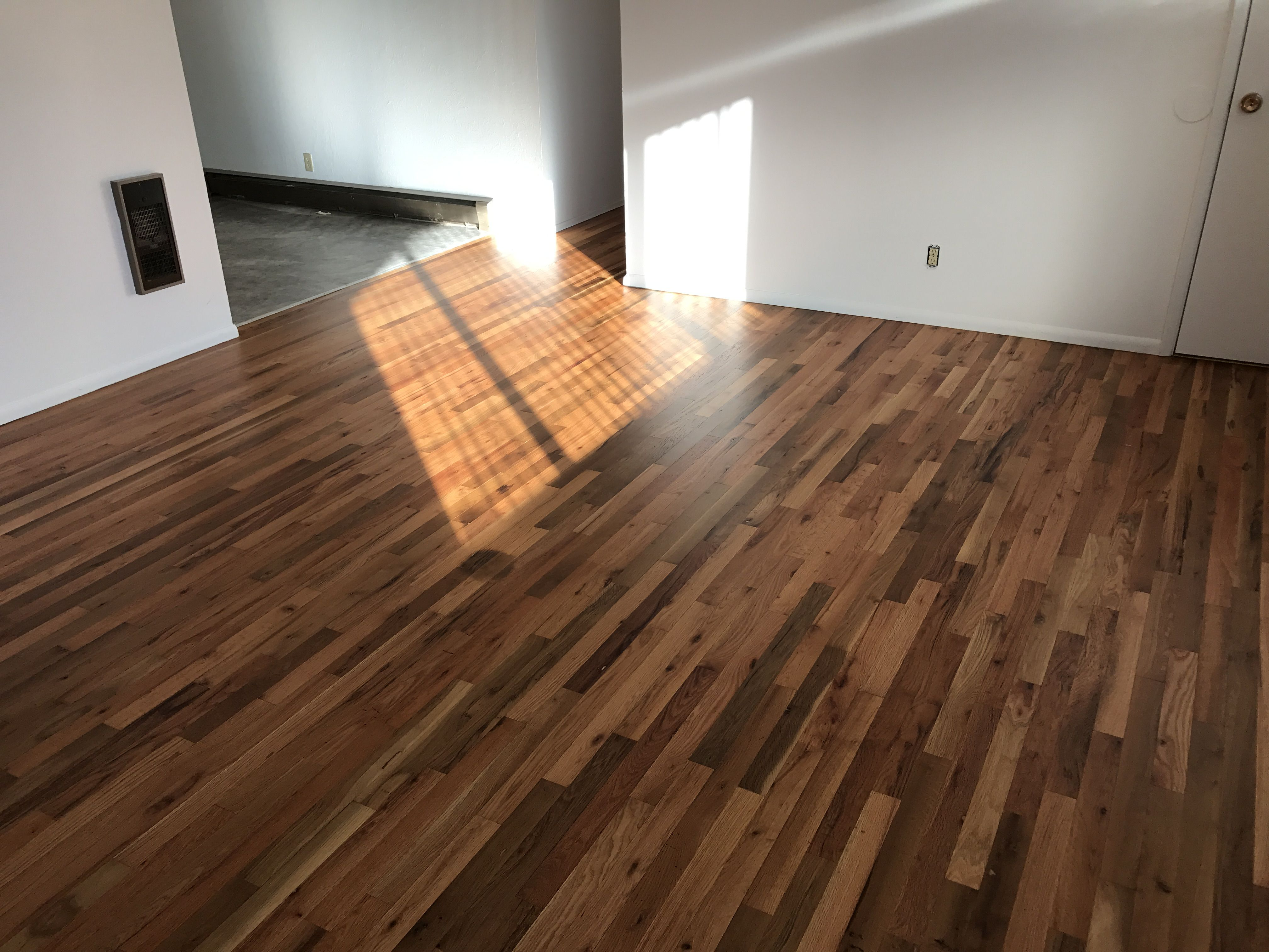 Matte finish on top of refinished red oak flooring