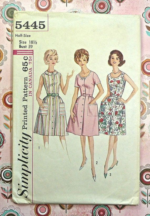 Simplicity 5445  Vintage 1960s Womens Dress Pattern by Fragolina, $5.50